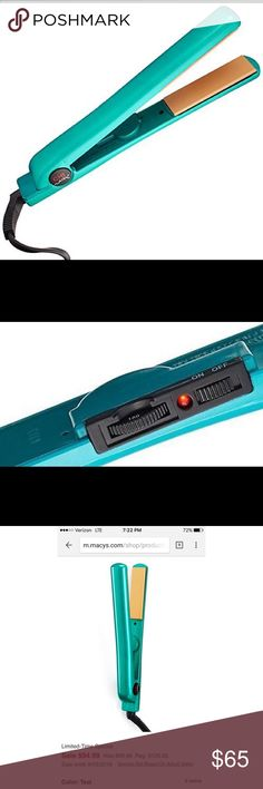 """Bright Teal CHI 1"""" Hair Straightener In great condition! Haven't used it much. Has an awesome temperature control so you don't damage your hair by burning it on a hot temp you can't change. 9 foot swivel cord and tourmaline ceramic plates. Bought at Maci's for the price in picture! I upgraded and don't have use for it anymore. Macy's Accessories Hair Accessories"""