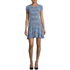 Michael Kors Printed Dropped-Waist Dress ($59) ❤ liked on Polyvore featuring dresses, blue, drop waist dress, short cap sleeve dress, michael kors dresses, michael kors and cap sleeve dress