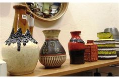 FIVE WEST GERMAN VASES BY BAY KERAMIK the largest piece a jug with band of 'Fat Lava' glaze 31cm