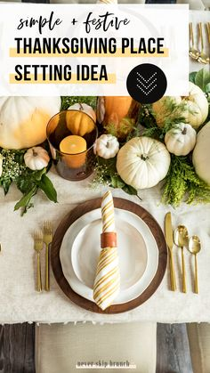 Gorgeous Thanksgiving Place Setting This thanksgiving table setting uses white plates as a base and gold silverware. The pottery barn wood charger compliments the yellow striped napkins and polymer clay napkin ring diy Thanksgiving Diy, Thanksgiving Table Settings, Farmhouse Napkins, A Table, Dinner Table, Drink Table, White Plates, Brunch, Polymer Clay