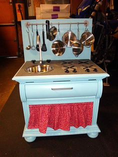 Cute little kid's kitchen....out of a nightstand....