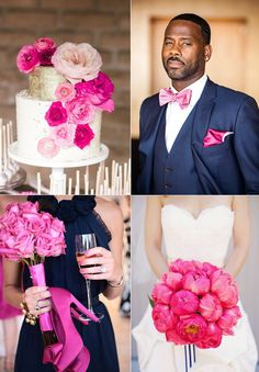 hot pink navy wedding inspiration from lucky in love wedding planning blog from banquetevent