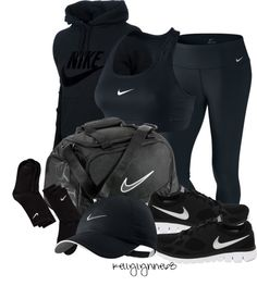 """All Black Nike Workout"" by kellylynne68 ❤ liked on Polyvore"
