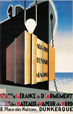Poster by A. M. Cassandre (1901-1968), 1927, S. A. G. A. Ste Nyme de Gérance & d'Armement,  Hachard & Cie., Paris.