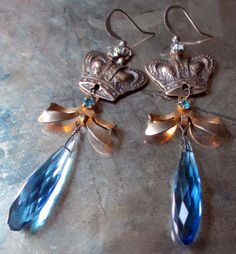 CROWNING JEWELS vintage assemblage earrings by The French Circus, $51.00