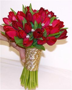 brides bouquet of  tulips and roses | red tulip bouquet with jewels