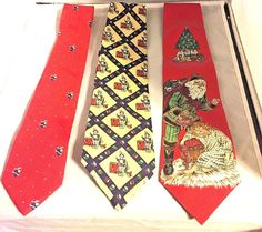 Lot of 3 Christmas Neck Ties:  Santa, Toy Soldier, Christmas Tree Designs