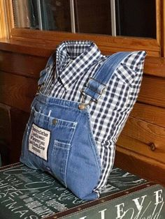 Memory Pillow from Bib Overalls item 110208 memory pillow Memory Pillow From Shirt, Memory Pillows, Memory Quilts, Jean Crafts, Denim Crafts, Upcycled Crafts, Old Shirts, Dad To Be Shirts, Foto Memory