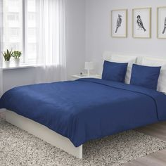 ÄNGSLILJA Duvet cover and pillowcase(s), dark blue, King. Extra soft duvet cover in mild colors and with concealed snaps that keep the comforter in place. Woven from pure cotton that breathes, absorbs moisture and feels good against your skin. Blue Bedspread, Blue Bedding, Blue Duvet, Single Bedroom, Blue Bedroom, Master Bedroom, King Duvet, Queen Duvet, Soft Duvet Covers