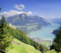 Brunnen Panorama, Brunnen, Switzerland. Click on this image and on the next two images to fully enjoy the beauty of this view of the lake Lucerne and the mountains.