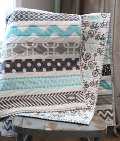 Crib Quilt Aqua and Grey Bicycle Baby Quilt Baby by GiggleSixBaby