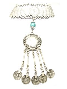Salma - Antique Silver Plated Coin choker with Turquoise Stone centre piece, that falls between the bust.