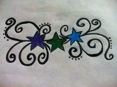 Each star representing each of my grandchildrens birthstone color. Star Tattoo Designs, Skull Tattoo Design, Dragon Tattoo Designs, Celtic Tattoos, Star Tattoos, Love Tattoos, Tatoos, Tattoos Representing Children, Nana Tattoo