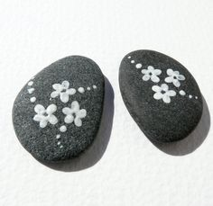 Set of 2 painted stones Painted sea rock stone art by fairysomnia, $55.00