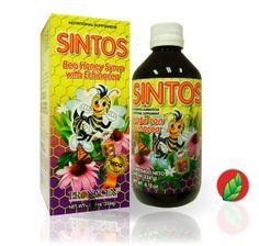 SINTOS® Jarabe con Equinácea. Presentación: frasco con 240ml.   SINTOS® Honey bee syrup with echinacea. Contains: 240 ml.