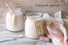 Homemade yogurt — sprig of thyme Bulgarian Yogurt, Homemade Yogurt, Homemade Food, Plain Yogurt, Glass Of Milk, Food Photography, Food And Drink, Drinks, Eating Healthy