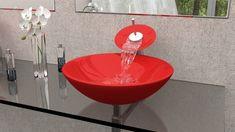 Bathroom Sink Glass Bowl Ideas For 2019 Glass Bathroom Sink, Glass Vessel Sinks, Boho Bathroom, Pedestal Sink, Bathroom Design Small, Bathroom Wall Decor, Bathroom Accessories Luxury, Wall Decor Quotes, Vintage Bathrooms