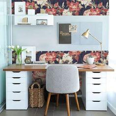 Vintage Roses PEEL & STICK Repositionable Fabric Wallpaper – Home office wallpaper Home Office Space, Home Office Design, Home Office Decor, House Design, Home Decor, Office Ideas, Desk Ideas, Ikea Office, Office Setup