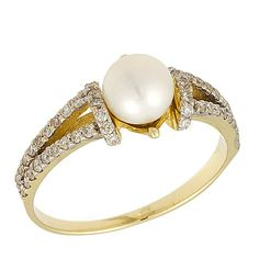 18k Gold Antique White Pearl and Diamond Engagement Ring on Etsy, $1,950.00
