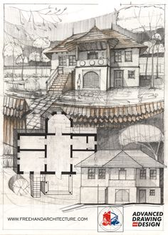 Freehand Architecture - Architectural Drawing and Design Architecture Drawing Plan, Architecture Sketchbook, Architecture Design, Perspective Sketch, Building Sketch, Traditional House, Spinning, Buildings, Layout