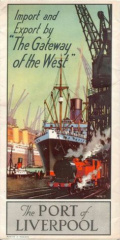 "adventures-of-the-blackgang: "" ""The Port of Liverpool"" advertising brochure, (by mikeyashworth) A fine item of commercial art for the massive docks of the Port of Liverpool - ships, cranes and. Posters Uk, Retro Poster, Railway Posters, Vintage Travel Posters, Illustrations And Posters, Vintage Ads, Liverpool Docks, Liverpool Home, Liverpool England"
