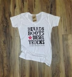 Beards, Boots, & Diesel Trucks Womens V-Neck Tee