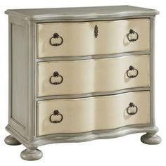"""At home in your guest room or as a hall chest, this farmhouse-inspired design showcases 3 drawers and turned bun feet.  Product: ChestConstruction Material: Cherry veneers and select hardwood solidsColor: Oyster shellFeatures: Part of the Paula Deen Home CollectionDimensions: 36"""" H x 38"""" W x 19"""" D"""