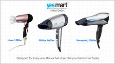 Check these Latest Branded #HairDryers with awesome features. These products are now available @YesMart. Which one would you prefer among these three #HairDryers? For more info Visit - www.yesmart.in