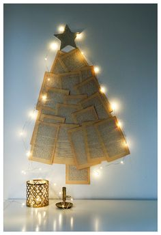 DIY christmas tree from old book pages.
