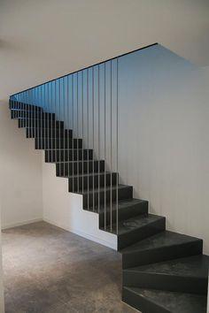 glad   - edificio de viviendas Staircase Outdoor, Interior Staircase, Staircase Railings, Staircase Design, Stairways, Marble Stairs, Stone Stairs, Metal Stairs, Modern Stairs