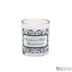 Personalized Black & White Votive Candleholders - Oriental Trading