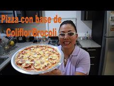 Cómo hacer pizza con base de coliflor o brócoli SIN HARINA!! - YouTube Base, Quiches, Pancakes, French Toast, Veggies, Gluten, Breakfast, Youtube, Food