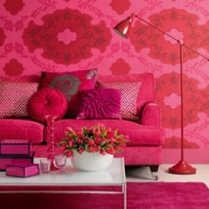 pink living room, flowers, pillows, sofa ~ MontanaRosePainter