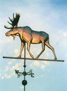 Moose Weather Vane, Walking by West Coast Weather Vanes.  This Moose Weathervane can be made in a variety of metals including copper and brass with optional gold or palladium leafing.