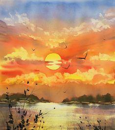 Likes, 68 Kommentare – Venet … - Aquarell Watercolor Paintings Nature, Watercolor Clouds, Watercolor Landscape Paintings, Watercolor Artists, Watercolor Illustration, Happy Paintings, Cross Paintings, Ciel, Art Projects