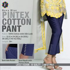 Trousers & Pants Trendy Cotton Women's Pant  *Fabric* Cotton  *Size* L - 32 in, XL - 34 in, XXL -36 in, 3XL - 38 in, 4XL - Up To 40 in To 42 in  *Length* Up To 36 in  *Type* Stitched  *Description* It Has 1 Piece Of Women's Pant  *Work* Beads Work  *Sizes Available* L, XL, XXL, XXXL, 4XL *    Catalog Name: Jivika Pretty Cotton Women's Pants CatalogID_129835 C79-SC1034 Code: 574-1063128-