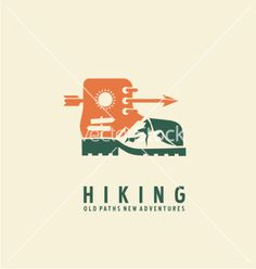Retro Hiking logo design template vector by Lukeruk on VectorStock®