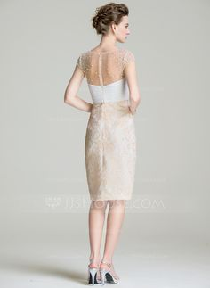 Sheath/Column Scoop Neck Knee-Length Chiffon Lace Mother of the Bride Dress With Ruffle Beading Sequins (008072691)