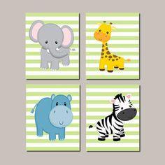 JUNGLE Animals Nursery Wall Art ELEPHANT Giraffe Zebra Hippo Zoo Animals Baby Boy Decor Jungle Bedding Baby Shower Set of 3 Prints Or Canvas