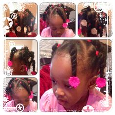 Little girls hairstyle.cute and simple! My first try with this and I loved it! Medium Scene Hair, Curly Scene Hair, Short Scene Hair, Indie Scene Hair, Scene Bangs, Black Baby Girl Hairstyles, Mixed Baby Hairstyles, Cute Hairstyles For Kids, Children Hairstyles