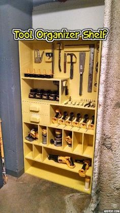 "Woodworking Shop Picture of Tool Organizer Shelf - One of our three theatres is on the opposite side of the building making running back to the shop for that ""one tool"" inconvenient. As a solution we turned one o."