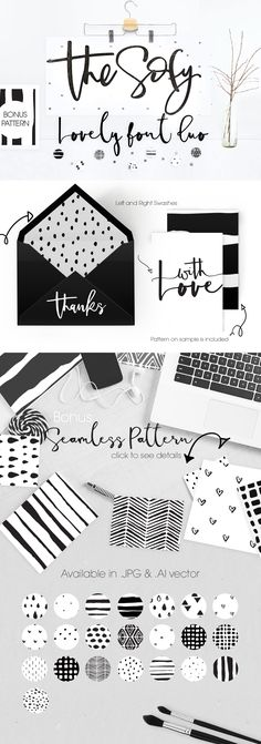 SOFY... Lovely Grey & White Font Duo - The Sofy Font Duo Pattern Freebie by mycandythemes on @creativemarket #letters #handtype