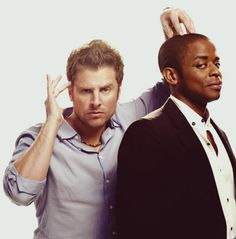Psych~ Carlton Lassiter: Hey, we found prints. Shawn Spencer: Was he in a little red corvette? Burton 'Gus' Guster: Under the cherry moon? Shawn And Gus, Shawn Spencer, Carlton Lassiter, Psych Tv, Psych Cast, Real Detective, James Roday, I Know You Know, Rookie Blue