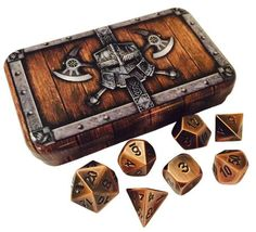 These are perfect for any RPGs such as Dungeons and Dragons, Pathfinder, Shadowrun, Savage Worlds, Math Games or anything else you can think of!Set of 7 Metallic Polyhedral Role Playing Game Dice- Antique Brass Color. Each Die-Cast m...