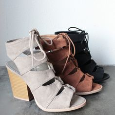 """color: taupe, rust, or black nonskid rubber sole cushioned insole soft vegan suede 3.75"""" wood-look block heels imported"""