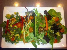 In The Raw Salad Quatro! Left to right: Kale, Garden, Caesar, Sea Veg