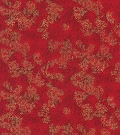 Legacy Studio Gilded Leaves Cotton Fabric-Cardinal With Gold Metallic