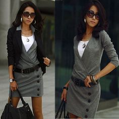 Elegant Wrapped V-neck OL Slim Fit Women's Long Sleeve Mini Dress Solid Buttons #NA #ShirtDress #Casual