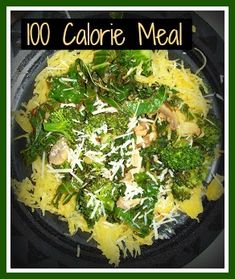 Easy and yummy 100 calorie meal. Spaghetti squash, broccoli, kale and garlic sautee. Loooove me some spaghetti squash!