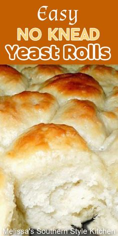 Bakers of all skill levels can make these fluffy mouthwatering No Knead Yeast Rolls #nokneadbread #nokneadrolls #yeastrolls #rolls #breadrecipes #bread #bestyeastrolls #fallbaking #holidayrecipes #dinnerrolls #homemadebread #food #recipes #southernfood #southernrecipes #melissassouthernstylekitchen Sweet Dinner Rolls, Dinner Rolls Recipe, Angel Rolls Recipe, Best Homemade Bread Recipe, Homemade Rolls, Fresh Bread, Sweet Bread, Easter Recipes, Holiday Recipes